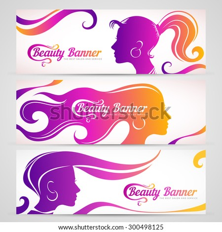 Set of color banners with stylized girls. Creative feminine banners. - stock vector