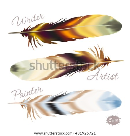 Set of color birds feather in boho style and typography writer, artist, painter. Vector illustration - stock vector