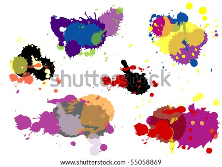 Set of color blots & drops - stock vector