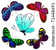 Set of color butterflies of tattoos - stock vector