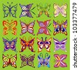 Set of Color Butterflies on Green Background, Vector Version - stock