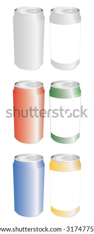 set of color cans in vector mode