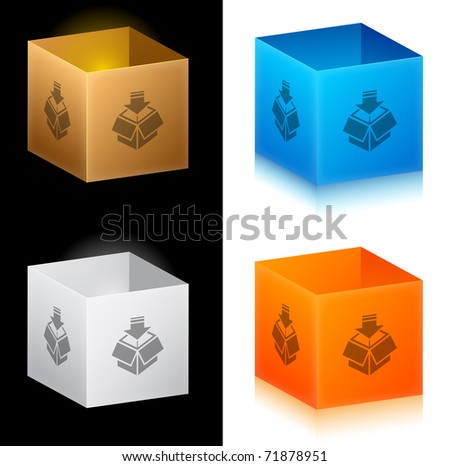 Set of color cardboard boxes - stock vector