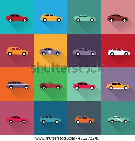 Set of color cars