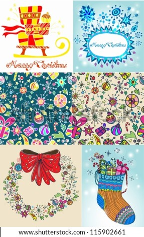 Set of color Christmas Cards for your design, vector