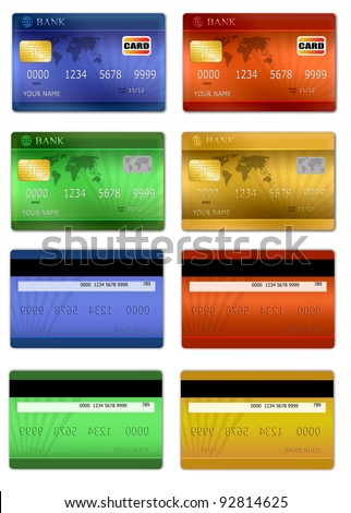 Set of color credit card front and back view, vector illustration - stock vector