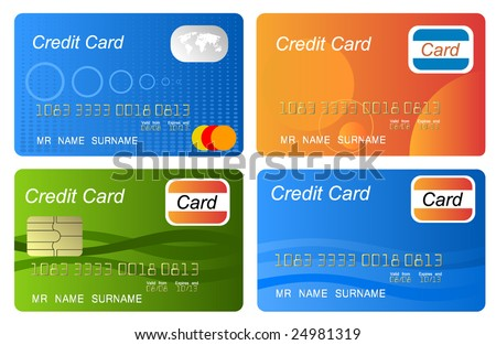 Set of color credit card vector, highly detailed, vector - stock vector