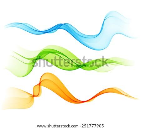 Set of color curves transparent lines. Blue, green and orange/ For flyer and brochure design - stock vector