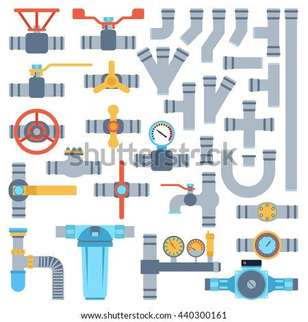 Set of color details pipes different types collection. Vector set of pipes water tube industry, gas valve construction. Oil industrial pressure technology plumbing pipes. Steel factory engineering. - stock vector