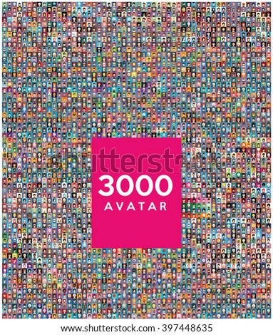 Set of 3000 color,diferent avatar - stock vector