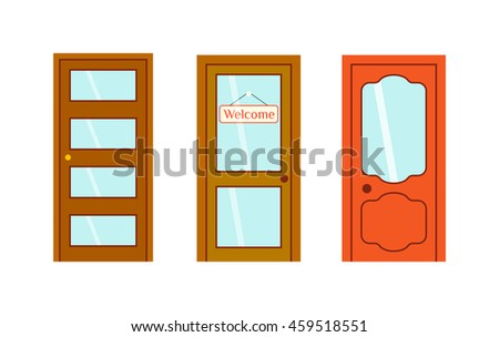 Set of color doors isolated on white. Colorful front doors to houses and buildings set in flat design style isolated. Vector illustration doors isolated modern new decoration open elegant room lock. - stock vector
