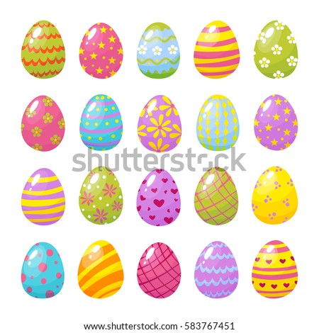 set of color easter eggs traditional symbol of easter isolated on white background