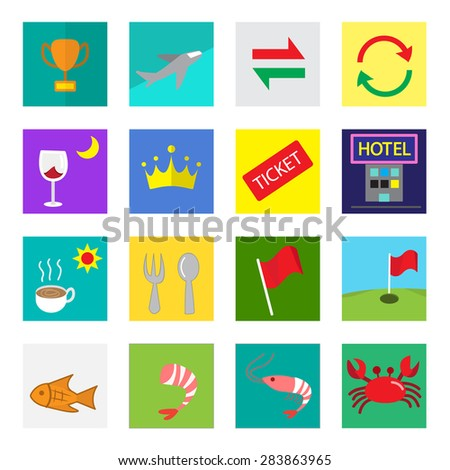 Set of color flat icon for cafe and restaurant in kid drawing style.  reward, flight,exchange,convert,dinner,royal,ticket,hotel,breakfast,lunch,flag,golf course, fish,sea food,fresh shrimp,crab - stock vector