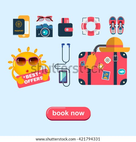 set of color flat icons for planning summer holidays - stock vector