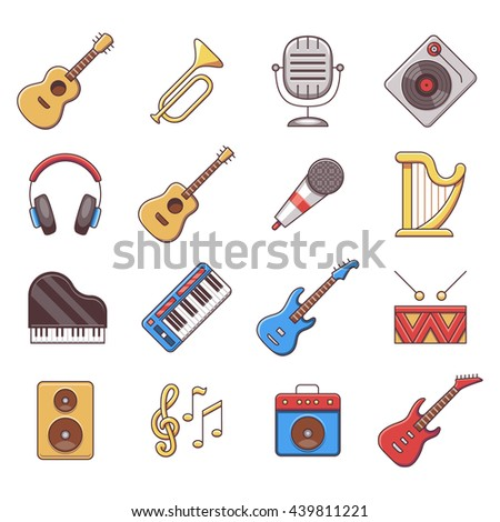 Set of color flat line icons with instrument musical, equipment, audio acoustic. Vector illustration - stock vector