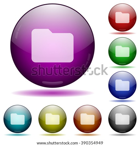 Set of color folder glass sphere buttons with shadows. - stock vector