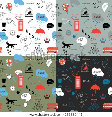 set of color funny line art hand drawn english pattern  - stock vector