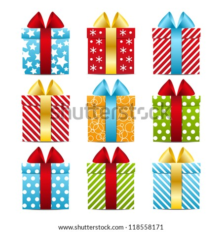 Set of color gift boxes - stock vector