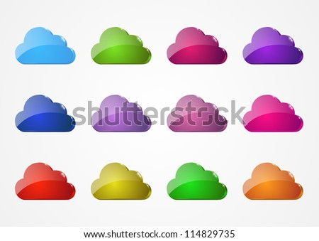 Set of color glossy cloud icons - stock vector