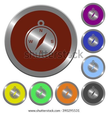 Set of color glossy coin-like compass buttons. - stock vector