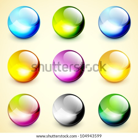 Set of color glossy spheres - stock vector
