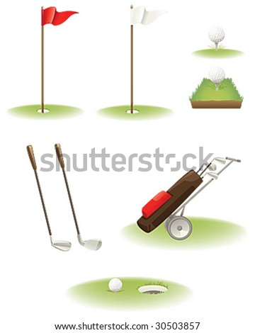 Set of Color Golf Icons - stock vector