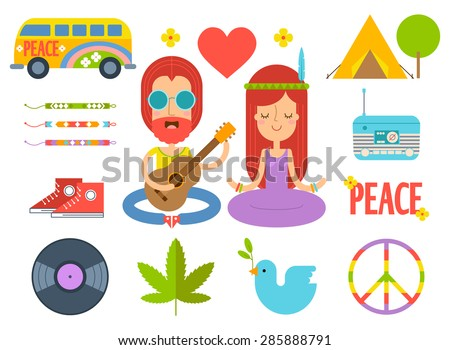 Set of color hippie vector flat icons. Infographic elements. Hippie van, cannabis leaf, heart, tent, friendship bracelets, radio, sneakers, vinyl record, dove of peace, pacific symbol. Man with guitar - stock vector