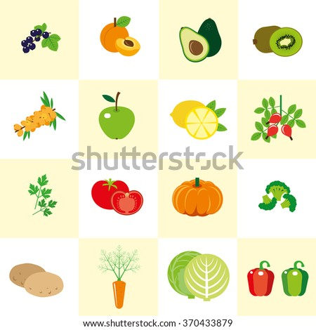 Set of color images of vegetables and fruit in a flat style. Set of icons. It can be used for the menu. - stock vector
