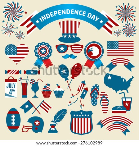 Set of color independence day. Vector icons. - stock vector