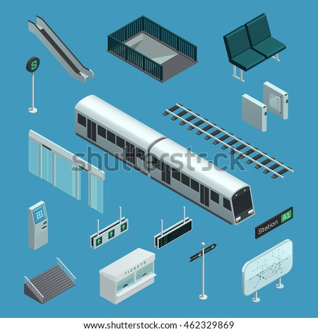 Set of color isometric icons depicting elements of subway vector illustration
