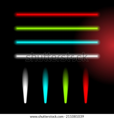 Set of color laser beams, headlight and flashlight samples - stock vector