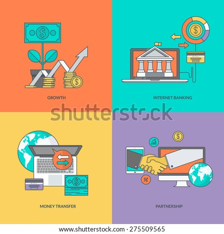 Set of color line icons on the theme of finance - stock vector
