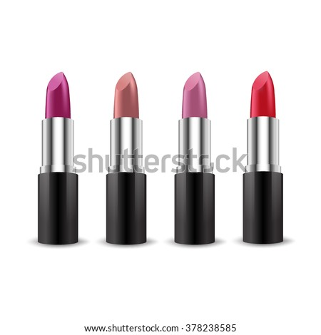 Set of color lipsticks. Red lipstick, pink lipstick, orange lipstick, wine lipstick.Red lipstick set isolated on white background, RGB vector created with gradient mesh - stock vector