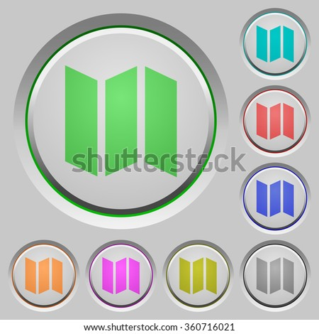Set of color map sunk push buttons. - stock vector