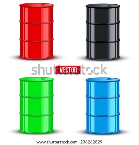 Set of color metal oil barrels. Vector illustration on white background - stock vector
