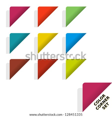 Set of color page folded corner effect graphic element. - stock vector