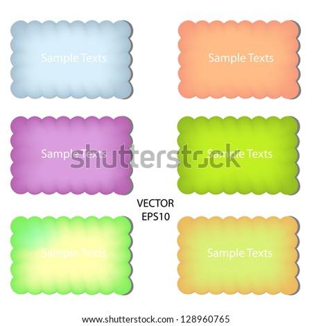 set of color paper notes,paper box,text box,vector - stock vector