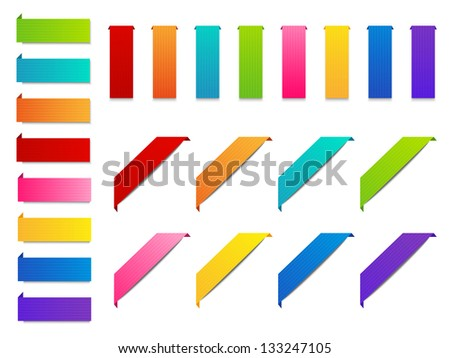 Set of color paper ribbons - stock vector