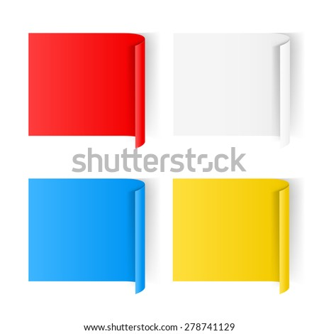 Set of color paper sticker isolated on a background - stock vector