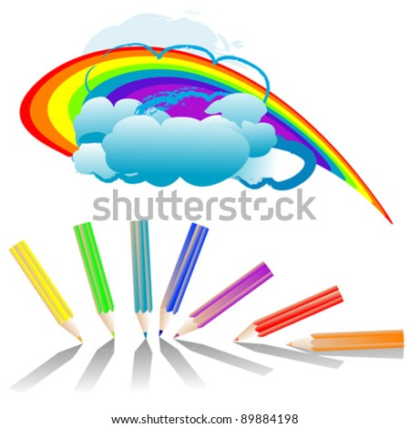 set of 7 color pencils and rainbow over beautiful clouds