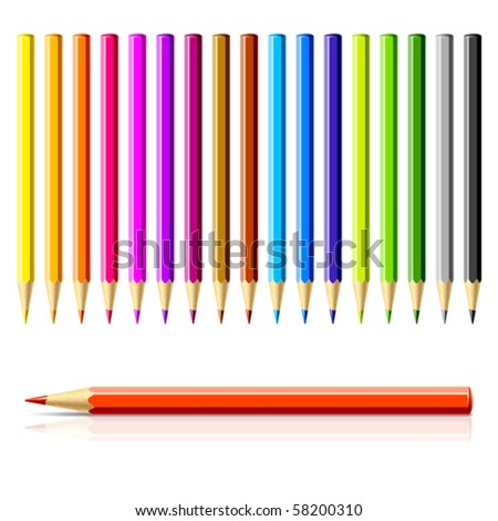Set of color pencils. Vector. - stock vector