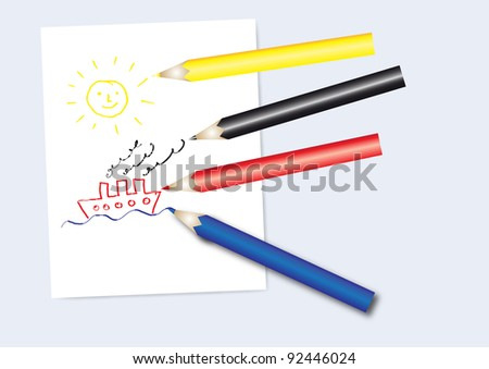 Set of color pencils with notepad and kids drawing - stock vector