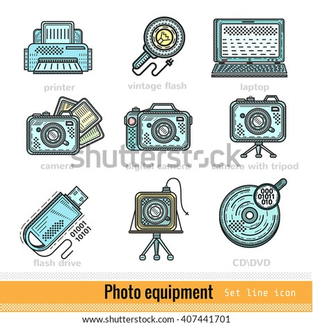 Set of Color Photo Equipment Outline Web Icons
