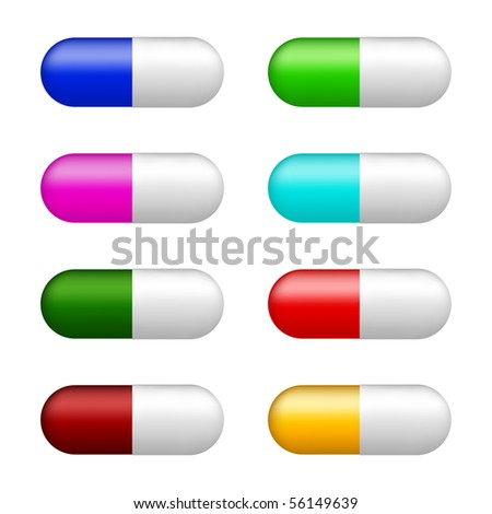 set of color pills - stock vector