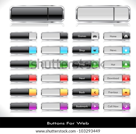 Set of color plastic buttons for web. Vector illustration. - stock vector