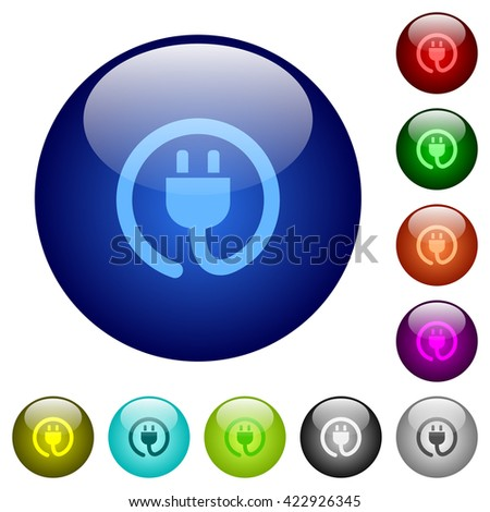 Set of color power cord glass web buttons. - stock vector