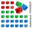 Set of color realistic dice. Illustration for design on white background - stock photo