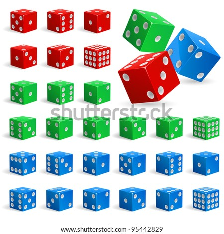Set of color realistic dice. Illustration for design on white background - stock vector