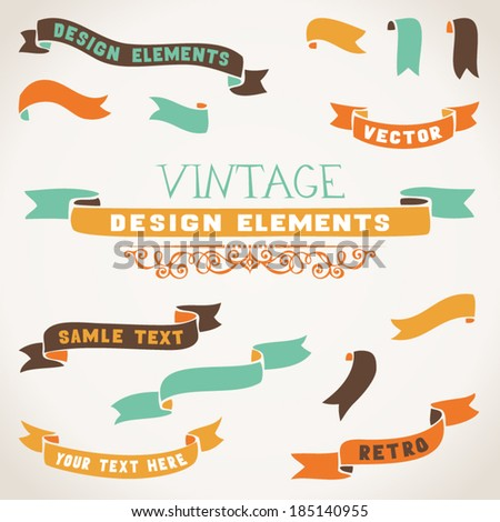 Set of color retro ribbons for your design. Ribbons are isolated on white background. There is place for your text. - stock vector