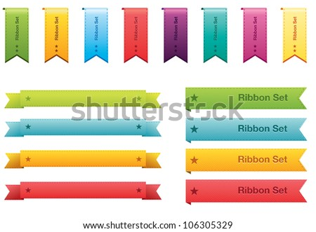 Set of color ribbons - stock vector